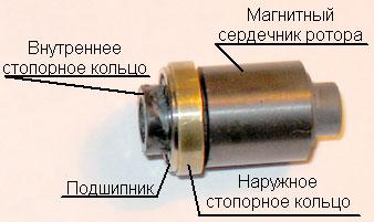 Ротор с подшипником и стопорными кольцами в сборе